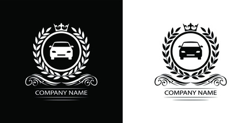 car logo template luxury royal vector company decorative emblem with crown