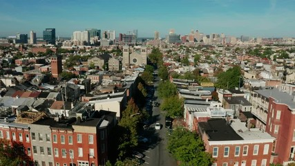 Fotomurales - Aerial View Moving In Over Baltimore Maryland and the Highlandtown Neighborhood