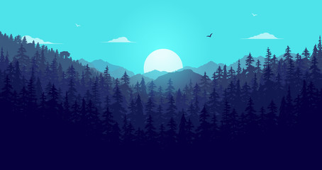 Wilderness forest and sun. Landscape with mountains, sunrise and blue sky early morning. Calm background vector illustration.