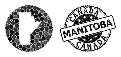 Mosaic Stencil Circle Map of Manitoba Province and Watermark Seal