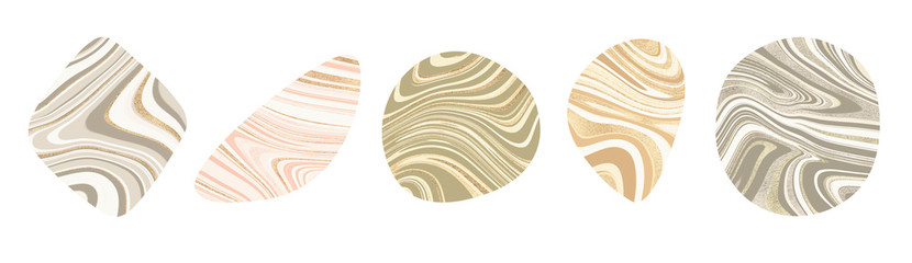 modern abstract minimal organic clip art shapes set in marble wave lines gold dusk rose gold warm dark silver and olive green isolated on a white background