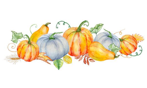 watercolor autumn composition with pumpkins