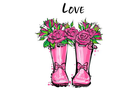 Pink bow princess wellies. Rubber boots with autumn pink roses flowers, love sign. Vector illustration in watercolor style for little baby girl. Decoration seasonal celebration greeting card.