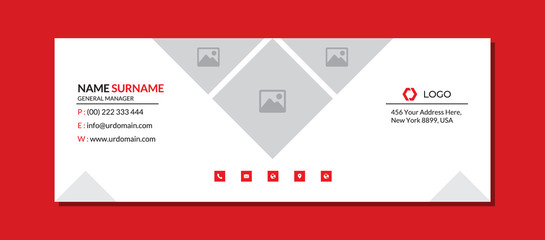 Corporate email signature template with an author photo place modern layout