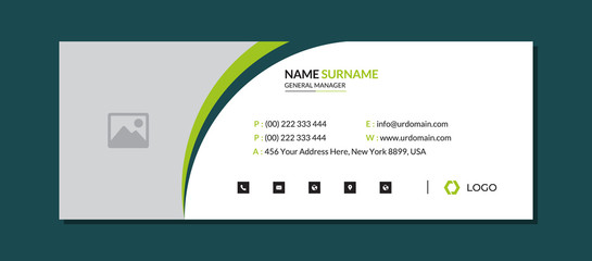 Modern corporate email signature template with an author photo place