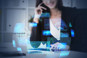 Woman in office, cloud computing