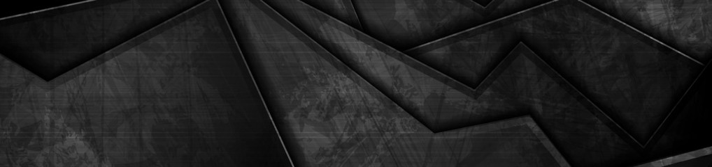 Wall Mural - Black grunge material abstract corporate background. Vintage vector banner