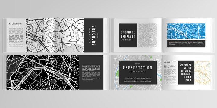 Vector layouts of horizontal presentation design templates with urban city map of Paris for landscape design brochure, cover design, flyer, book design, magazine.