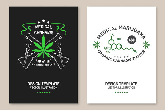 Medical cannabis poster, flyer, template with cannabis leaf, glass bong Vector. Typography logo design with cannabis leaf, glass bong silhouette For weed shop, cannabis, marijuana delivery service