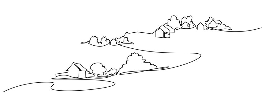 Rural landscape continuous one line vector drawing. Lake house in the woods hand drawn silhouette. Country nature panoramic sketch. Village minimalistic contour illustration.