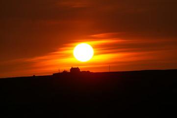 Deurstickers Rood paars romantic sunset landscape