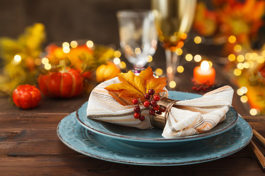 Thanksgiving autumn place setting.