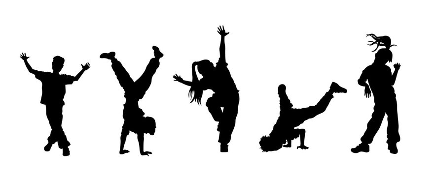 Children dancing street dance silhouette vector illustration. Hip hop, break dance, juzz funk, rap, freestyle