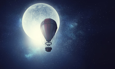 Hot air balloon floating . Mixed media