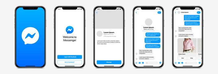 Messagerie Facebook PARIS, FRANCE – AUGUST 23, 2020 : Facebook Messenger template presentation on Apple iPhone : log in, conversation, welcome, carroussel. Editable text and display. Mobile smartphone mockup vector set.