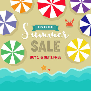 End of summer sale poster, promotional price discount banner background, umbrellas, crab and starfish vectors, sand beach holidays backdrop