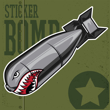 Flying Tiger Shark Mouth Sticker Vinyl on green background Vector illustration 3