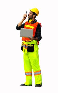 industrial worker using walkie talkie isolated