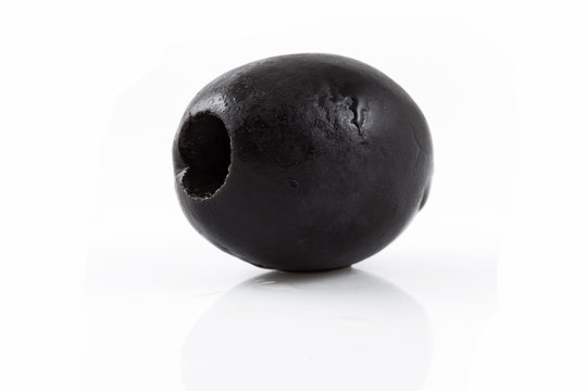 Black olives - appitizers, isolated on the white background
