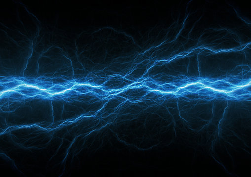 Blue lightning, plasma electrical abstract