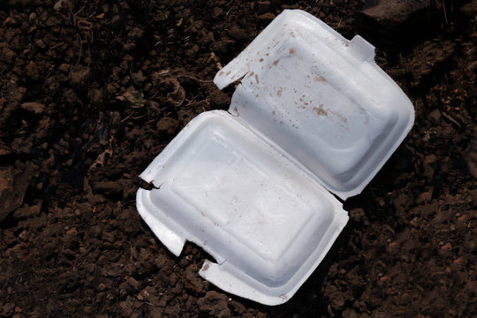 food foam tray garbage waste used, styrofoam tray waste on floor