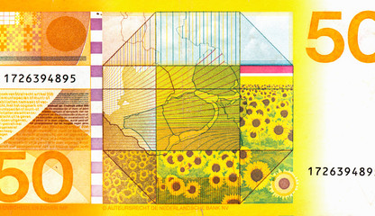 Printed kitchen splashbacks Sunflower Zonnebloem Sunflower Portrait from Netherlands 50 Gulden 1982 Banknotes.