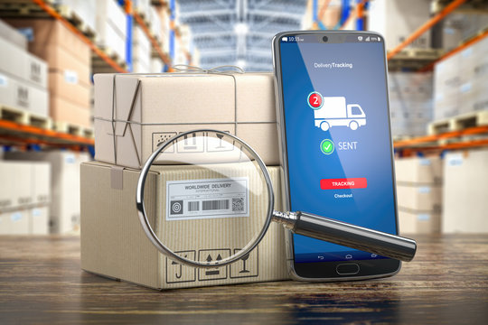 Smartphone with cardboard boxes and loupe. Logistics, delivery and online order tracking concept.