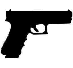 Semi caliber 9 mm GLOCK 22 G22 9 mm Standard 40 handgun, pistols for police and army, special forces. Realistic silhouette