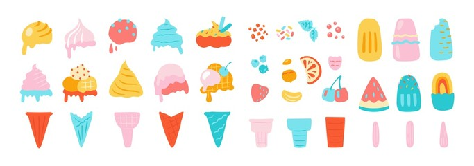 Ice cream elements. Waffle cons with sundae, chocolate vanilla and other ice cream balls, nuts strawberry and mint flavors. Vector isolated illustration set on white background