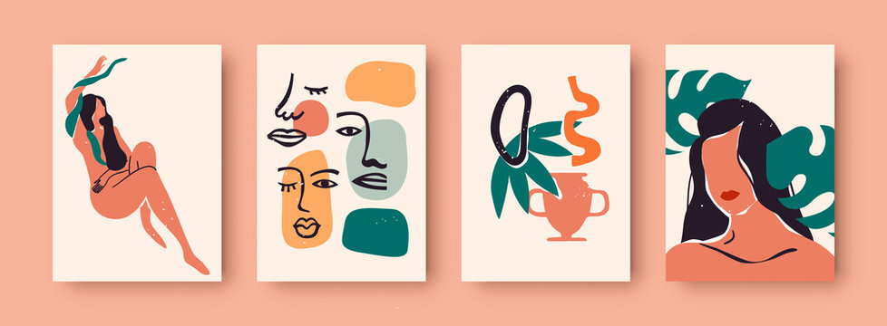 Abstract women portrait set, trendy woman illustration collection with tropical nature decoration and wild jungle snake. Wall print template for fashion, feminist, or beauty concept.