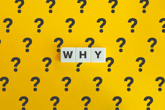"""Question word """"Why"""" on block letters and bright yellow orange background with the question mark pattern. Minimal aesthetics."""