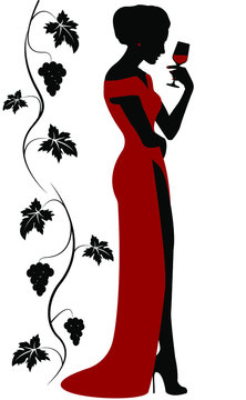woman in a red dress with a glass of red wine in her hand. An elegant girl is standing near the vine with a glass for alcohol. Stock vector illustration.