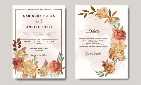 Beautiful autumn floral frame wedding invitation card template Premium Vector