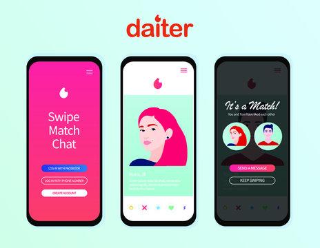 Dating app design inspired by Tinder style. People match social media Mockup. Teender application. Online dating, virtual love. Vector illustration
