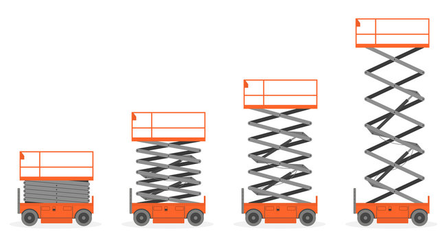 Set of Scissors lift platform, isolated on white background.