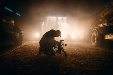 Videographer on set, music video