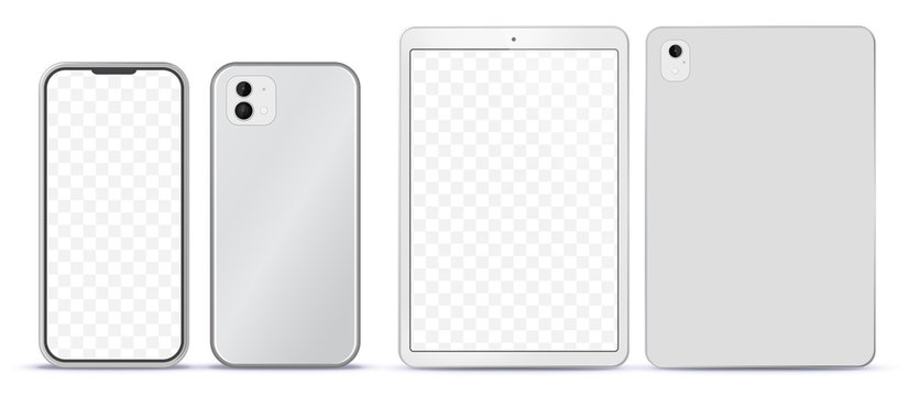 Silver Mobile Phone and Tablet Computer Mockup With Front and Back Side View.