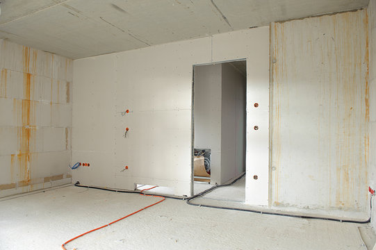 interior construction building site and electrical installation