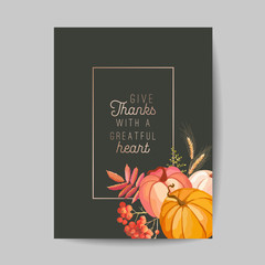 Thanksgiving day greeting, invitation card, flyer, banner, poster template. Autumn pumpkin, flower, leaves, floral design elements. Vector illustration