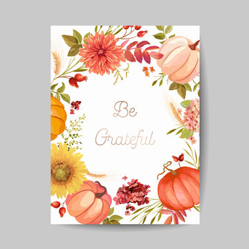Thanksgiving day greeting, invitation card, flyer, banner, poster template. Autumn pumpkin, flower, leaves, floral design elements. Vector illustration