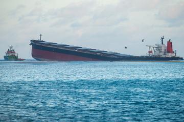 Acrylic Prints Shipwreck Japanese ship Wakashio wrecked off the coast of Mauritius