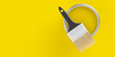 Paintbrush on top of silver paint bucket with yellow paint on yellow background, home renovation concept flat lay top view from above with copy space