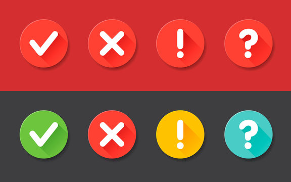 Vector check mark exclamation mark, question mark icons set. Flat icons for web and mobile applications.