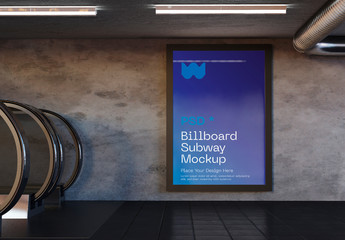 Advertisement in Subway Station Mockup