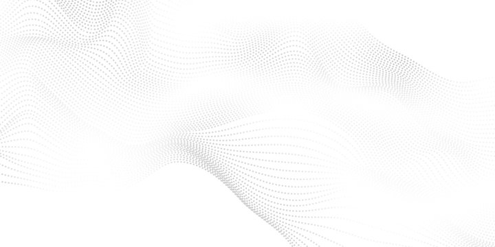 Abstract grey background poster with dynamic waves. particle technology network Vector illustration.