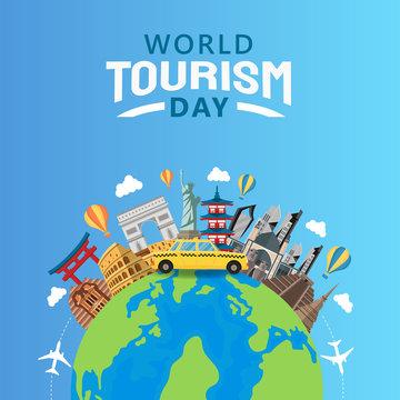 hand drawn illustration of world tourism day concept. Vector Illustration
