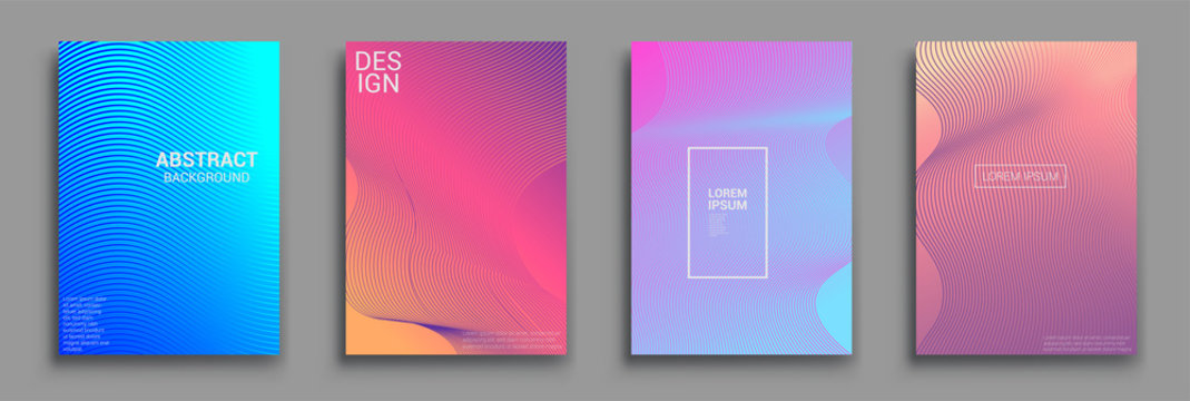 Minimal covers design. Geometric halftone gradients. Vector illustration of bright color abstract pattern background with line gradient texture for minimal dynamic cover design.