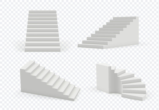 Stairs realistic. Architectural object staircase up steps vector modern templates collection. 3d realistic interior staircase, architecture direction stair illustration