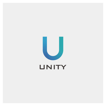 Stock Vector Alphabet U Letter Logo Design for Creative Company Brand Identity