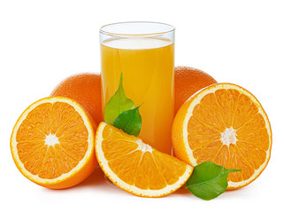 Fresh orange juice in glass isolated on white